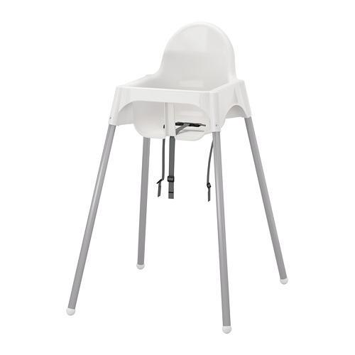 Cadira alta ANTILOP amb cinturó de seguretat blanc / plata
