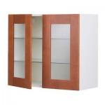 ФАКТУМ Навесной шкаф с 2 стеклянн дверями - Эдель классический коричневый, 80x70 см