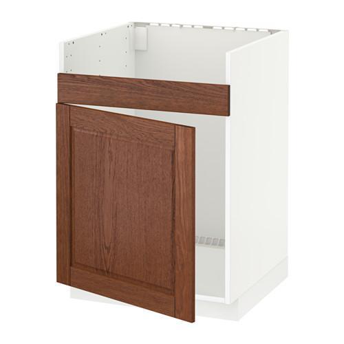 МЕТОД Нплн шкаф для одинарн мойки ДУМШЁ - Филипстад коричневый, белый