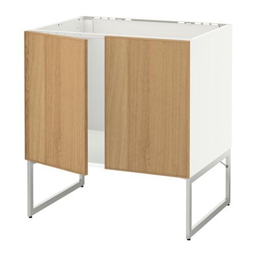 МЕТОД Напольн шкаф д раковины+2 двери - Экестад дуб, белый