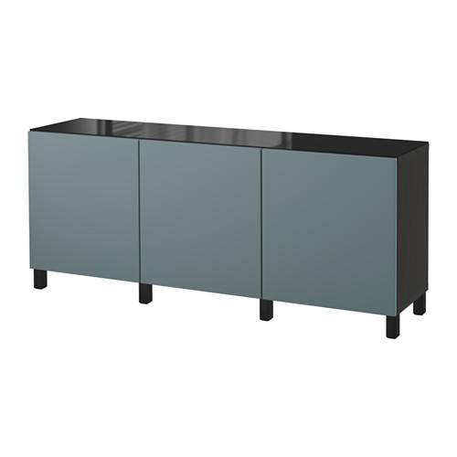 БЕСТО Комбинация для хранения с дверцами - черно-коричневый/Вальвикен серо-бирюзовый
