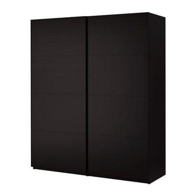 ПАКС Гардероб с раздвижными дверьми - Пакс Мальм черно-коричневый, черно-коричневый, 200x66x236 см