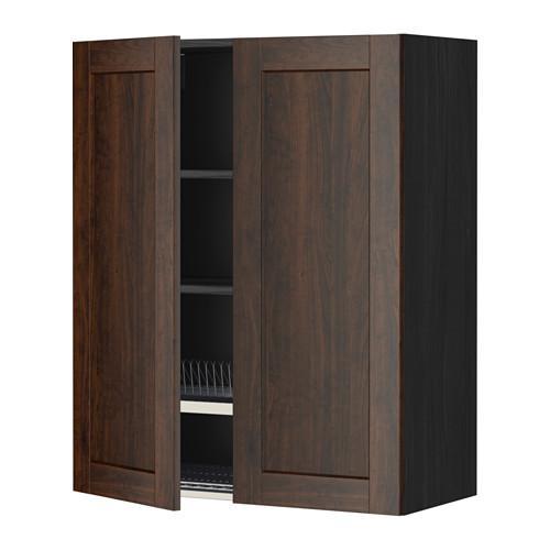 МЕТОД Навесной шкаф с посуд суш/2 дврц - 80x100 см, Эдсерум под дерево коричневый, под дерево черный