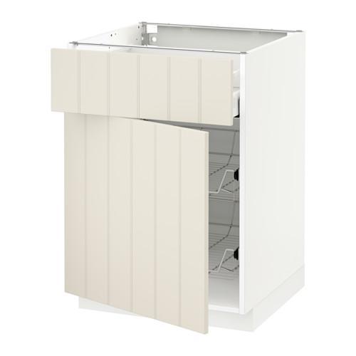 МЕТОД / МАКСИМЕРА Напольн шкаф с пров корз/ящ/дверью - 60x60 см, Хитарп белый с оттенком, белый