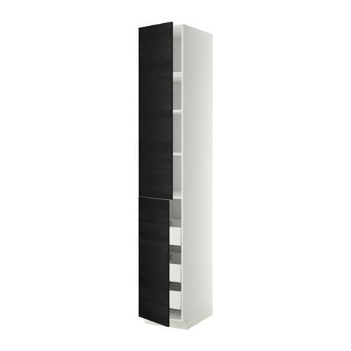 МЕТОД / МАКСИМЕРА Высокий шкаф+полки/3 ящика/2 дверцы - 40x60x240 см, Тингсрид под дерево черный, белый