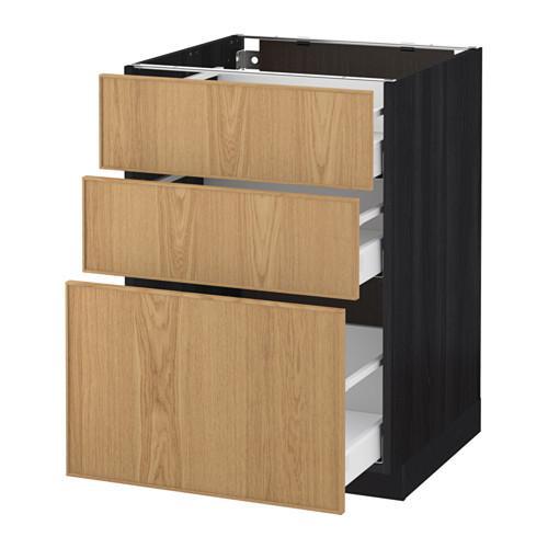 МЕТОД / МАКСИМЕРА Напольный шкаф с 3 ящиками - 60x60 см, Экестад дуб, под дерево черный