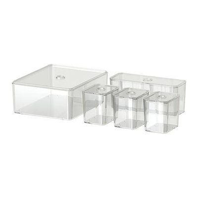 GODMORGON Box with lid, 5 pc