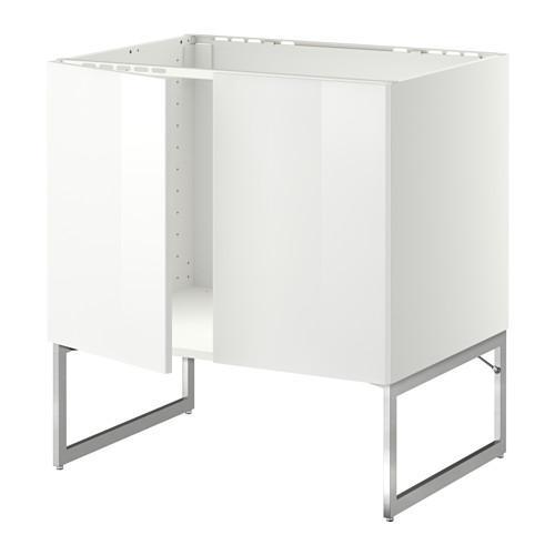 МЕТОД Напольн шкаф д раковины+2 двери - Рингульт глянцевый белый,
