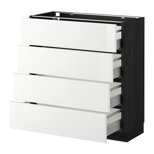 МЕТОД / МАКСИМЕРА Напольн шкаф 4 фронт панели/4 ящика - 80x37 см, Рингульт глянцевый белый, под дерево черный