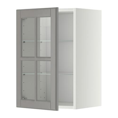 МЕТОД Навесной шкаф с полками/стекл дв - 40x60 см, Будбин серый, белый