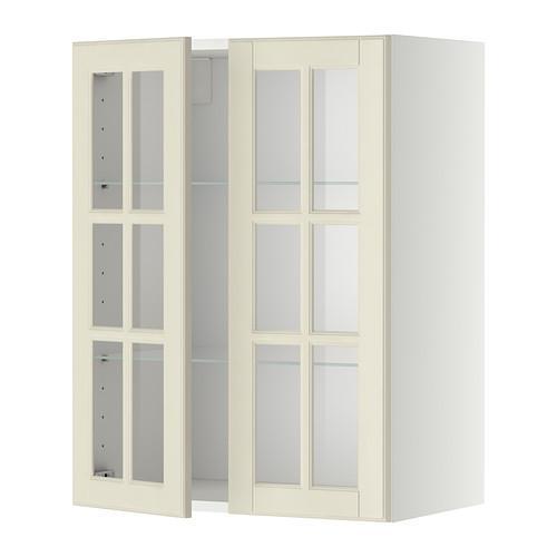 МЕТОД Навесной шкаф с полками/2 стекл дв - 60x80 см, Будбин белый с оттенком, белый
