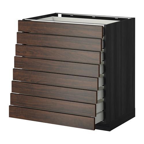 МЕТОД / МАКСИМЕРА Наполн шкаф 8 фронт/8 низк ящиков - 80x60 см, Эдсерум под дерево коричневый, под дерево черный