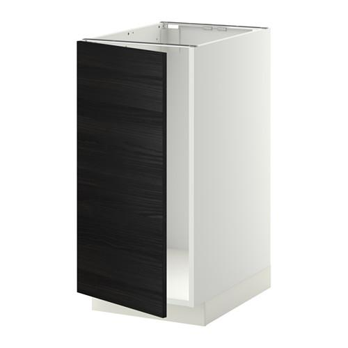 МЕТОД Наполный шкаф д/мойки/мусорн конт - Тингсрид под дерево черный, белый