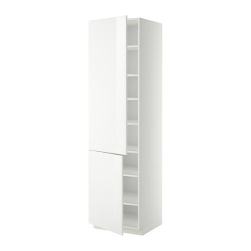 МЕТОД Высокий шкаф с полками/2 дверцы - 60x60x220 см, Рингульт глянцевый белый, белый