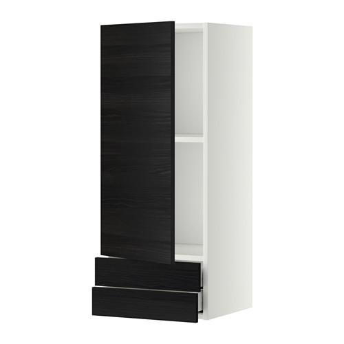 МЕТОД / МАКСИМЕРА Навесной шкаф с дверцей/2 ящика - 40x100 см, Тингсрид под дерево черный, белый