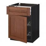 МЕТОД / МАКСИМЕРА Напольн шкаф с пров корз/ящ/дверью - 60x60 см, Филипстад коричневый, под дерево черный