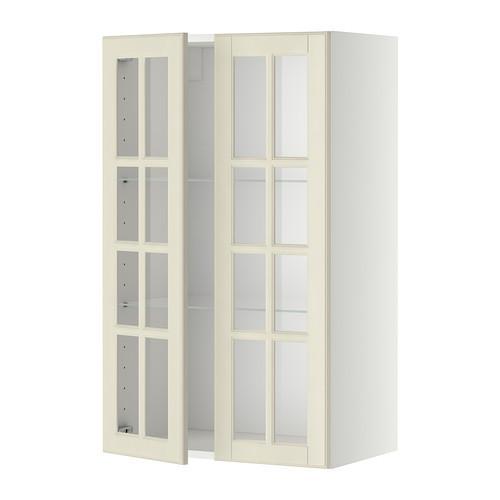 МЕТОД Навесной шкаф с полками/2 стекл дв - 60x100 см, Будбин белый с оттенком, белый