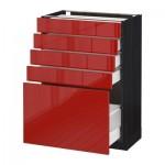 МЕТОД / МАКСИМЕРА Напольный шкаф с 5 ящиками - 60x37 см, Рингульт глянцевый красный, под дерево черный