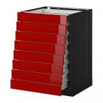 МЕТОД / ФОРВАРА Наполн шкаф 8 фронт/8 низк ящиков - 60x60 см, Рингульт глянцевый красный, под дерево черный