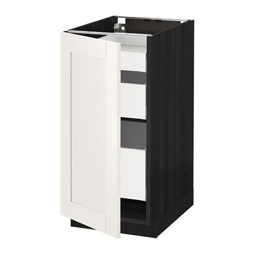 МЕТОД / МАКСИМЕРА Напольный шкаф с 1двр/3ящ - 40x60 см, Сэведаль белый, под дерево черный