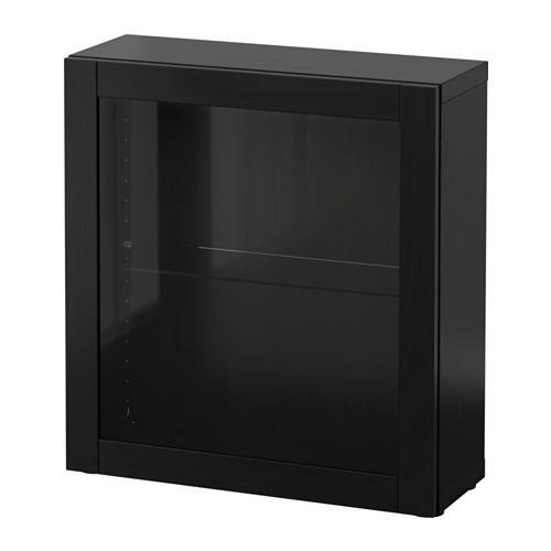 БЕСТО Стеллаж со стеклянн дверью - Синдвик черно-коричневый