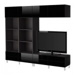 БЕСТО Шкаф для ТВ, комбинация - черно-коричневый/глянцевый черный