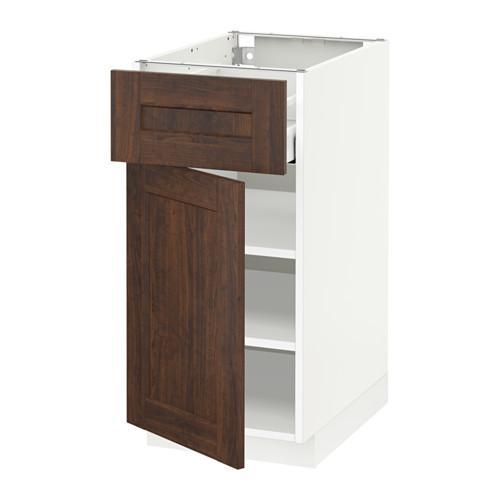 МЕТОД / МАКСИМЕРА Напольный шкаф с ящиком/дверью - 40x60 см, Эдсерум под дерево коричневый, белый