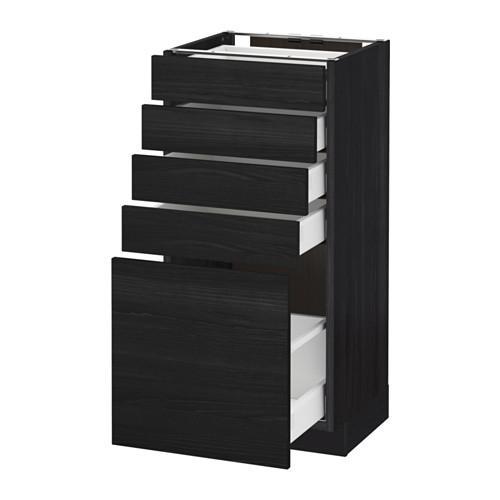 МЕТОД / МАКСИМЕРА Напольный шкаф с 5 ящиками - 40x37 см, Тингсрид под дерево черный, под дерево черный