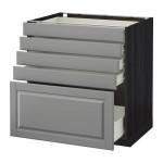 МЕТОД / ФОРВАРА Напольный шкаф с 5 ящиками - 80x60 см, Будбин серый, под дерево черный