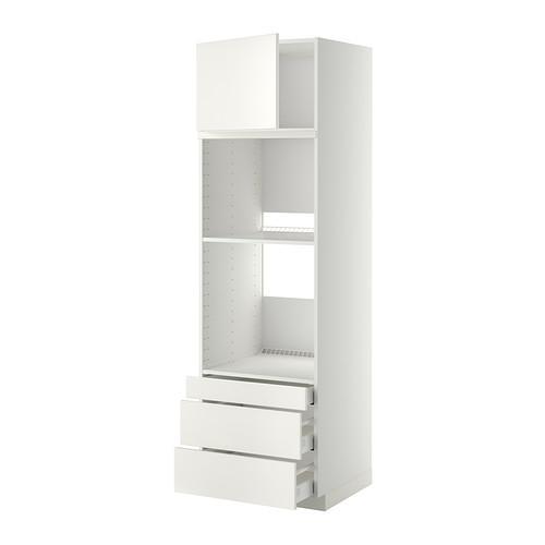 МЕТОД / МАКСИМЕРА Выс шкаф д/дхвк/комб дхвк+двр/3ящ - 60x60x200 см, Веддинге белый, белый