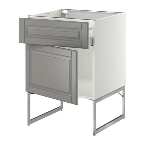 МЕТОД / МАКСИМЕРА Напольный шкаф с ящиком/дверью - 60x60x60 см, Будбин серый, белый