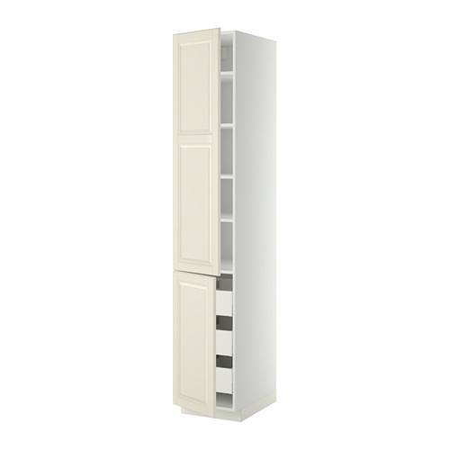 МЕТОД / МАКСИМЕРА Высокий шкаф+полки/3 ящика/2 дверцы - 40x60x220 см, Будбин белый с оттенком, белый