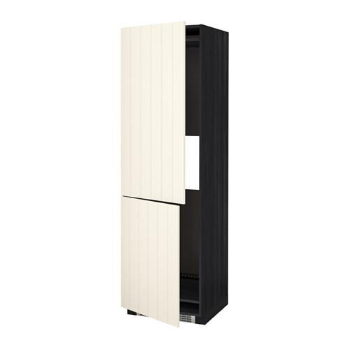 МЕТОД Выс шкаф д/холодильн или морозильн - под дерево черный, Хитарп белый с оттенком, 60x60x200 см