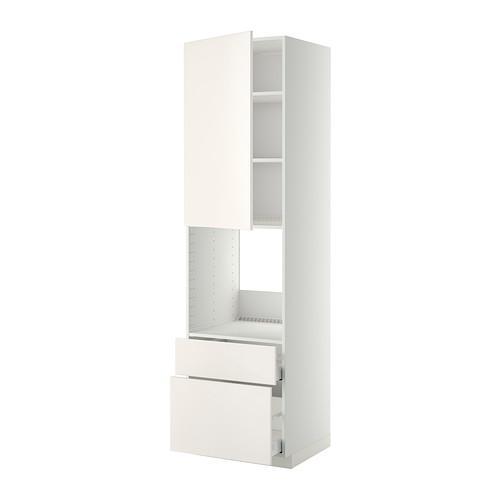 МЕТОД / МАКСИМЕРА Высок шкаф д духов+дверь/2 ящика - 60x60x220 см, Веддинге белый, белый