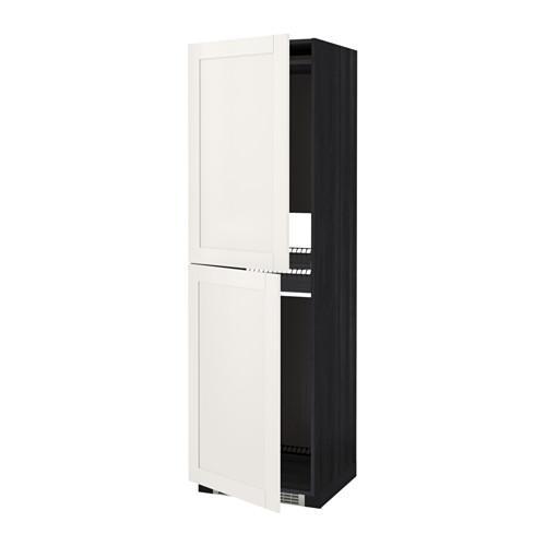 МЕТОД Высок шкаф д холодильн/мороз - 60x60x200 см, Сэведаль белый, под дерево черный