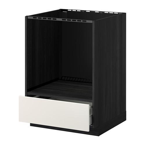 МЕТОД / МАКСИМЕРА Напольный шкаф д/духовки, с ящиком - Веддинге белый, под дерево черный