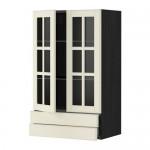 МЕТОД / МАКСИМЕРА Навесной шкаф/2 стек дв/2 ящика - 60x100 см, Будбин белый с оттенком, под дерево черный