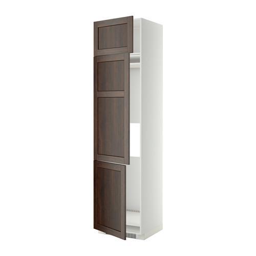 МЕТОД Выс шкаф для хол/мороз с 3 дверями - 60x60x240 см, Эдсерум под дерево коричневый, белый