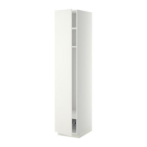 МЕТОД Выс шкаф с полками/проволоч корзин - 40x60x200 см, Хэггеби белый, белый