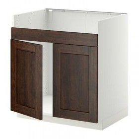 METHOD Base cabinet d double sink DUMSHЁ - Edserum wood brown, white