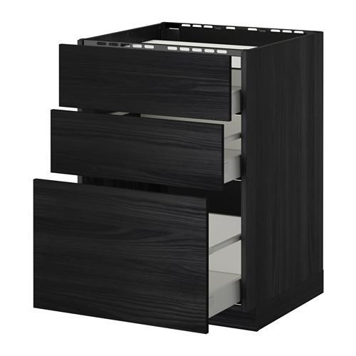 МЕТОД / МАКСИМЕРА Напольн шкаф/3фронт пнл/3ящика - 60x60 см, Тингсрид под дерево черный, под дерево черный