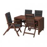 ÄPPLARÖ стол+4 кресла, д/сада коричневая морилка/Холло черный