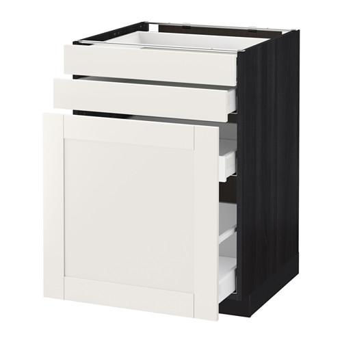 МЕТОД / МАКСИМЕРА Нплн шк с вдв мдл/2 фрнт - 60x60 см, Сэведаль белый, под дерево черный