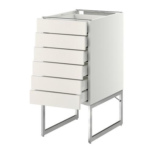 МЕТОД / МАКСИМЕРА Напольн шкаф 6фронт пнл/6 низ ящ - 40x60x60 см, Веддинге белый, белый