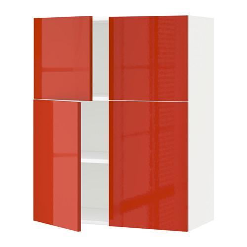 Kaedah Kabinet Dinding Dengan Rak 4 Pintu Putih Yersta Berkilat Oren 991 587 70 Ulasan Harga Di Mana Untuk Membeli