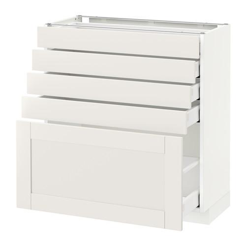 МЕТОД / МАКСИМЕРА Напольный шкаф с 5 ящиками - 80x37 см, Сэведаль белый, белый