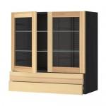 МЕТОД / ФОРВАРА Навесной шкаф/2 стек дв/2 ящика - под дерево черный, Торхэмн естественный ясень, 80x80 см