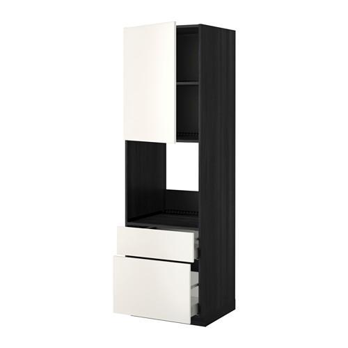 МЕТОД / МАКСИМЕРА Высок шкаф д духов+дверь/2 ящика - 60x60x200 см, Веддинге белый, под дерево черный