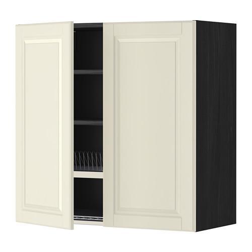МЕТОД Навесной шкаф с посуд суш/2 дврц - 80x80 см, Будбин белый с оттенком, под дерево черный