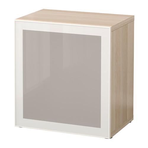 БЕСТО Стеллаж со стеклянн дверью - под беленый дуб/Глассвик белый/матовое стекло